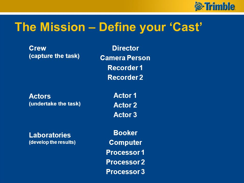 The Mission – Define your 'Cast'