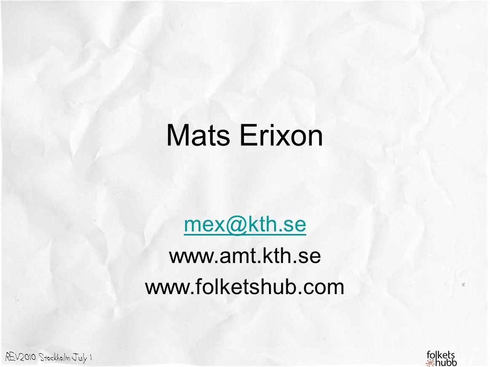 mex@kth.se www.amt.kth.se www.folketshub.com