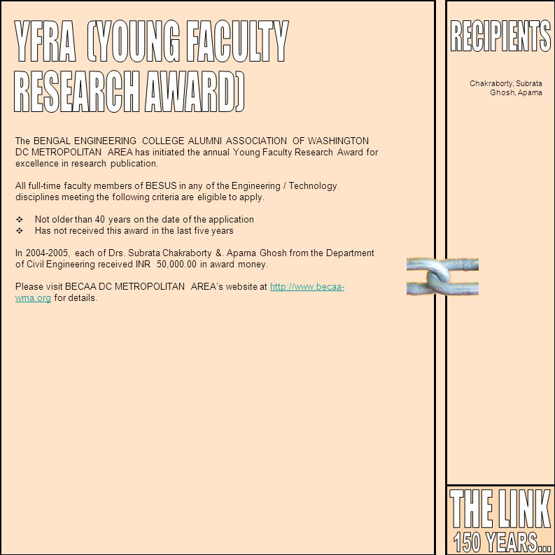 YFRA (YOUNG FACULTY RESEARCH AWARD) THE LINK 150 YEARS... RECIPIENTS