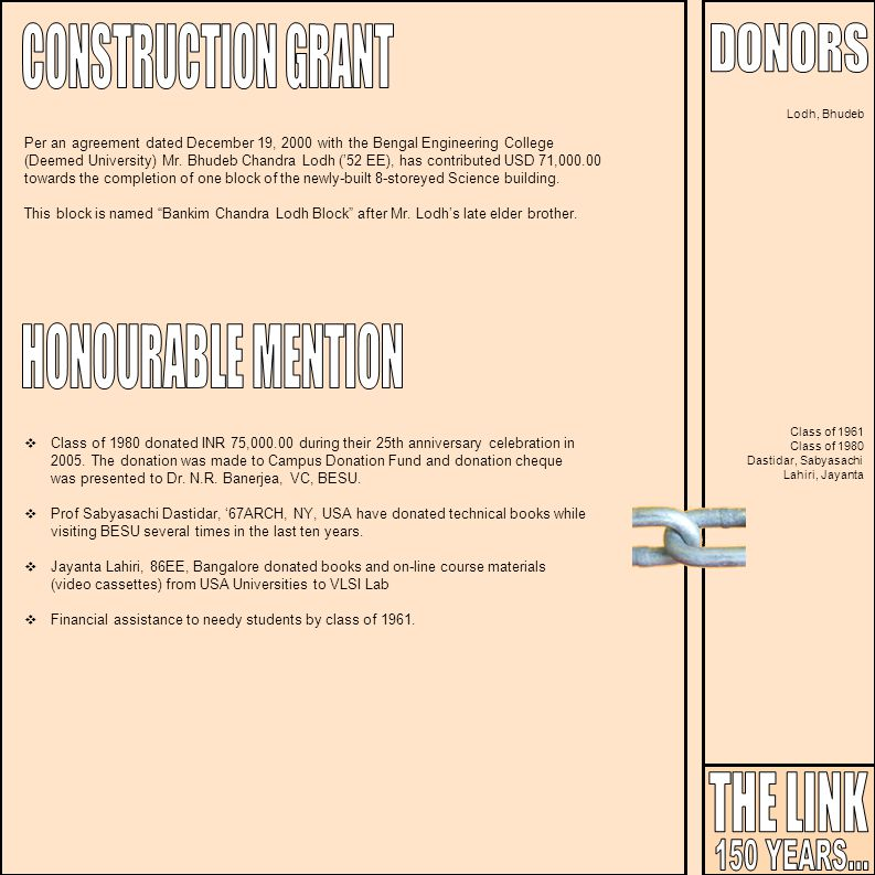 CONSTRUCTION GRANT HONOURABLE MENTION THE LINK 150 YEARS... DONORS