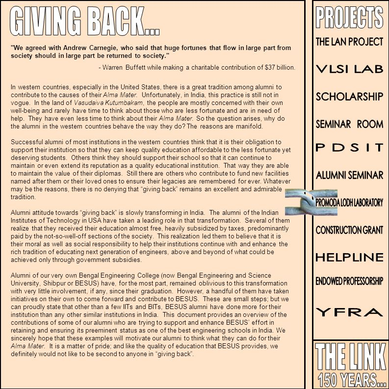 GIVING BACK... THE LINK 150 YEARS... PROJECTS THE LAN PROJECT VLSI LAB
