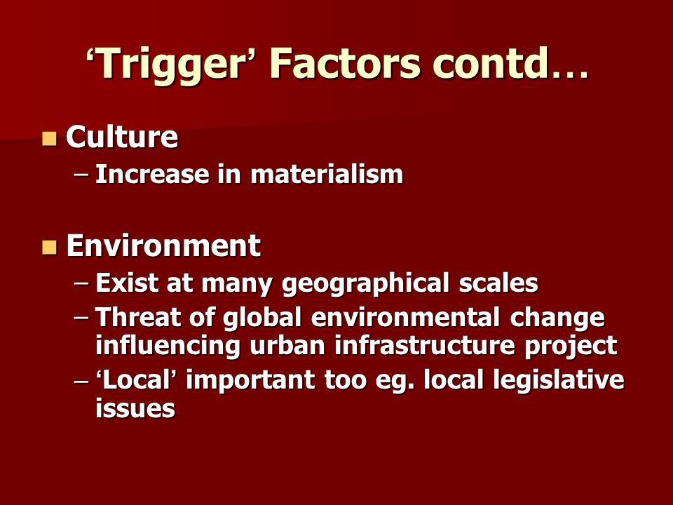 'Trigger' Factors contd…