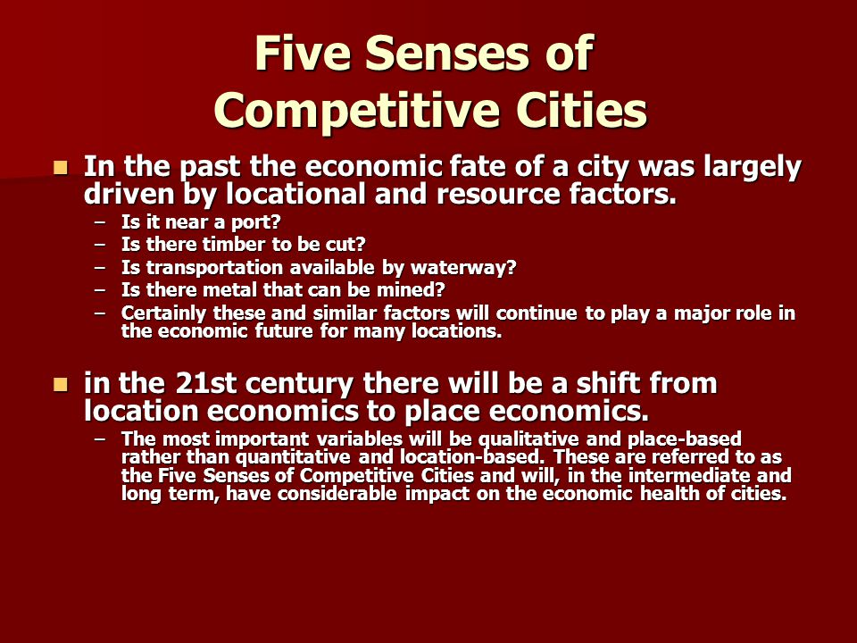 Five Senses of Competitive Cities