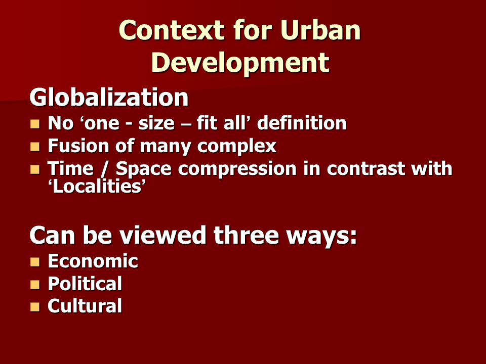 Context for Urban Development