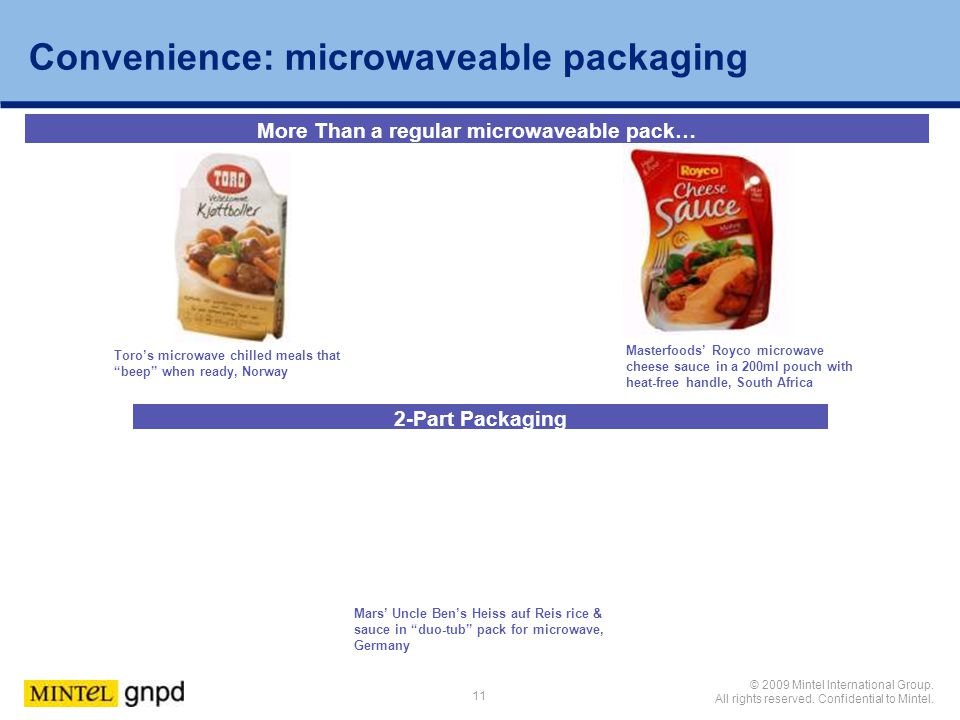 Convenience: microwaveable packaging