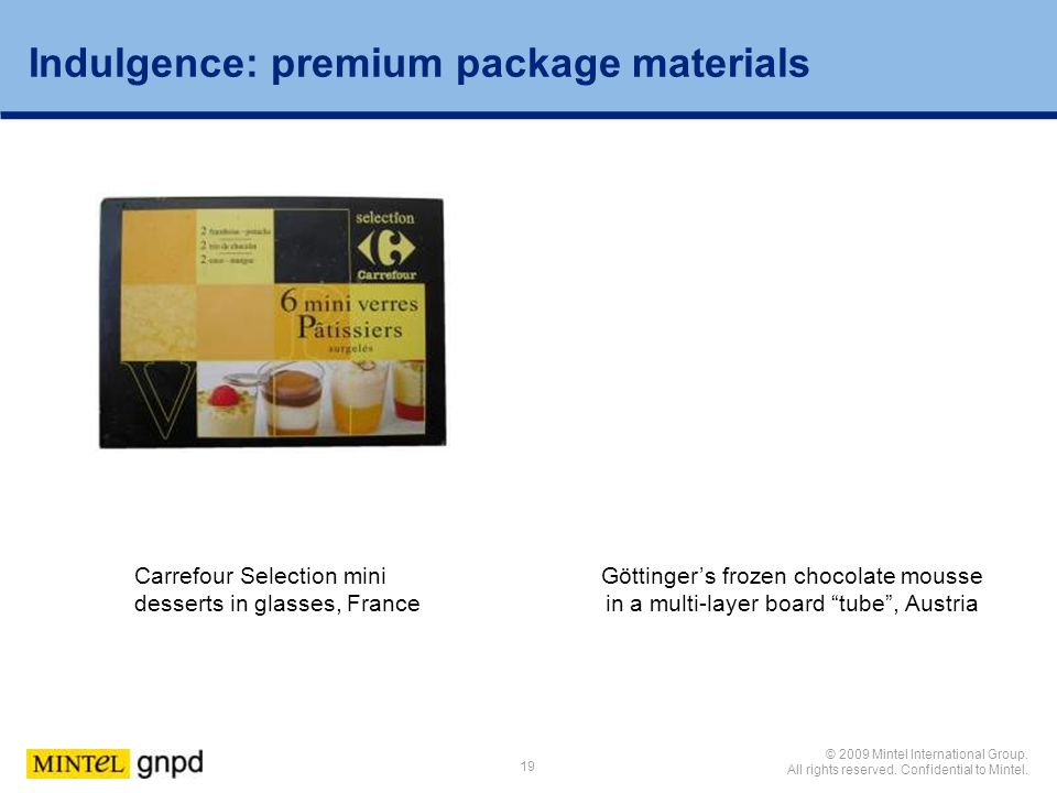 Indulgence: premium package materials