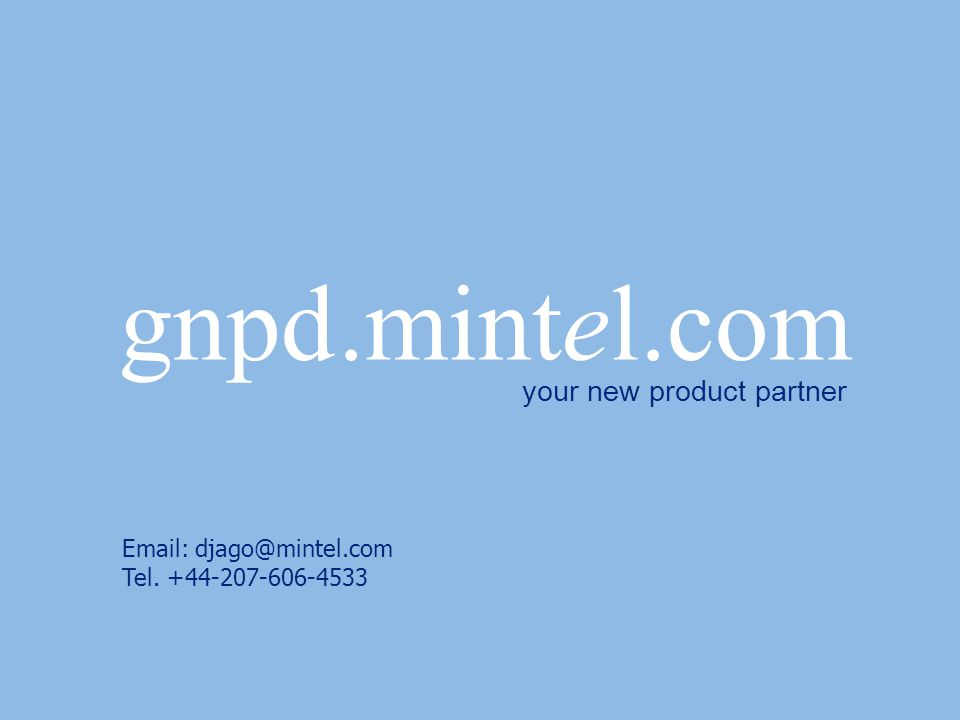 Email: djago@mintel.com Tel. +44-207-606-4533