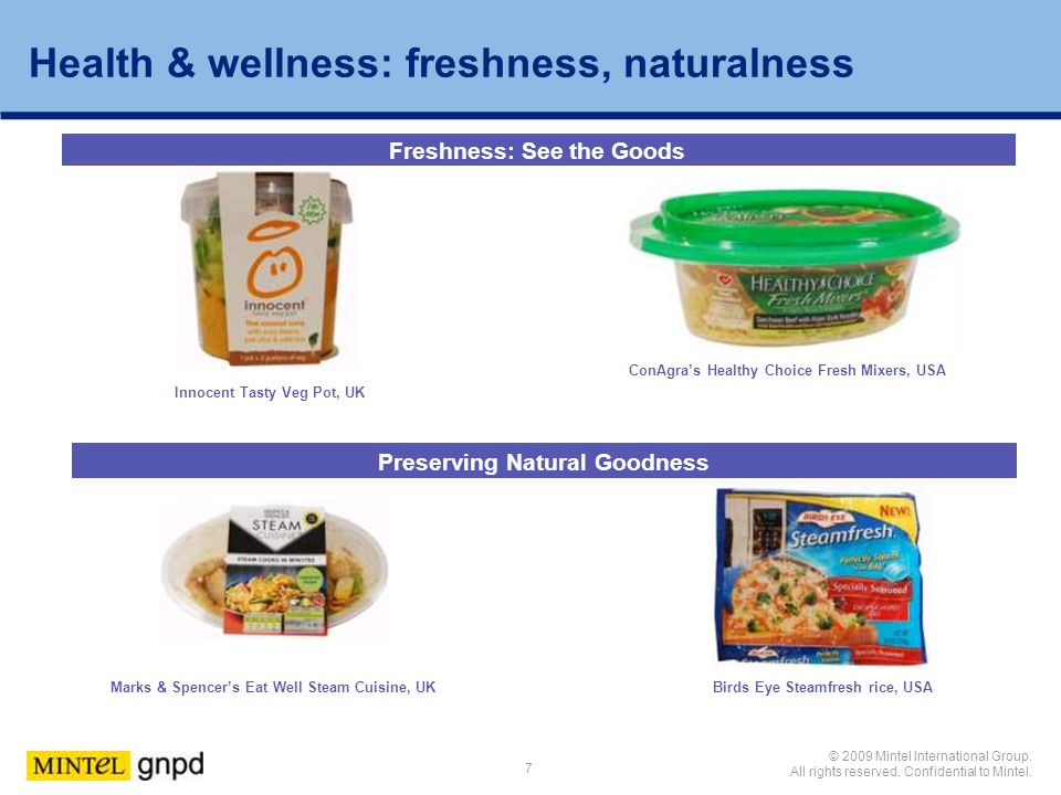 Health & wellness: freshness, naturalness