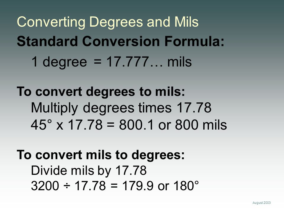 Converting Degrees and Mils
