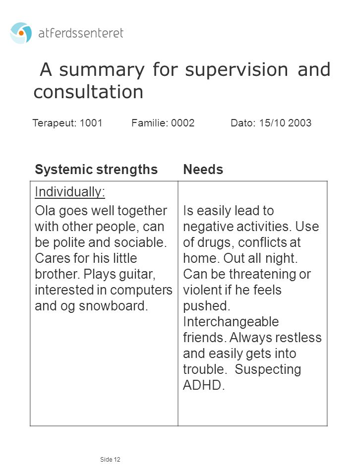 A summary for supervision and consultation