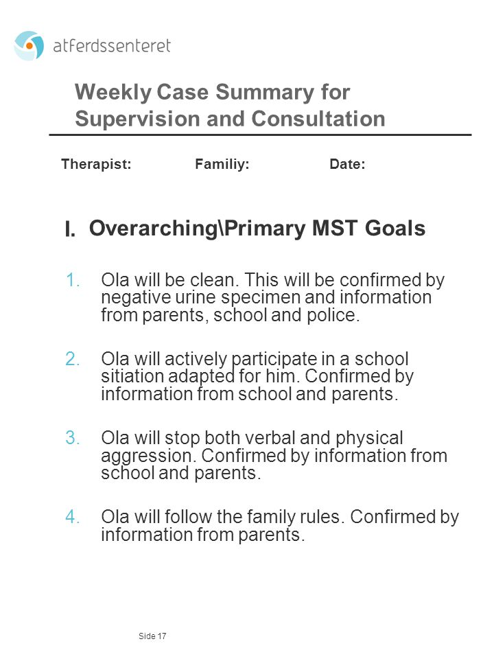 Weekly Case Summary for Supervision and Consultation
