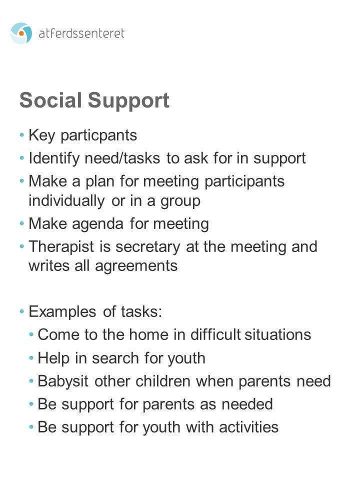 Social Support Key particpants