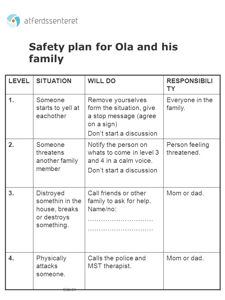 Safety plan for Ola and his family