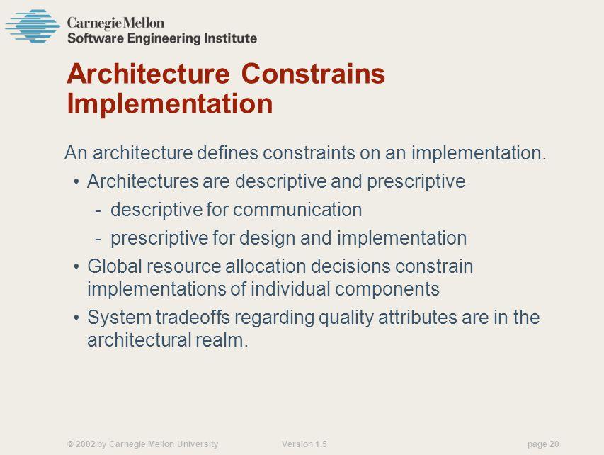 Architecture Constrains Implementation