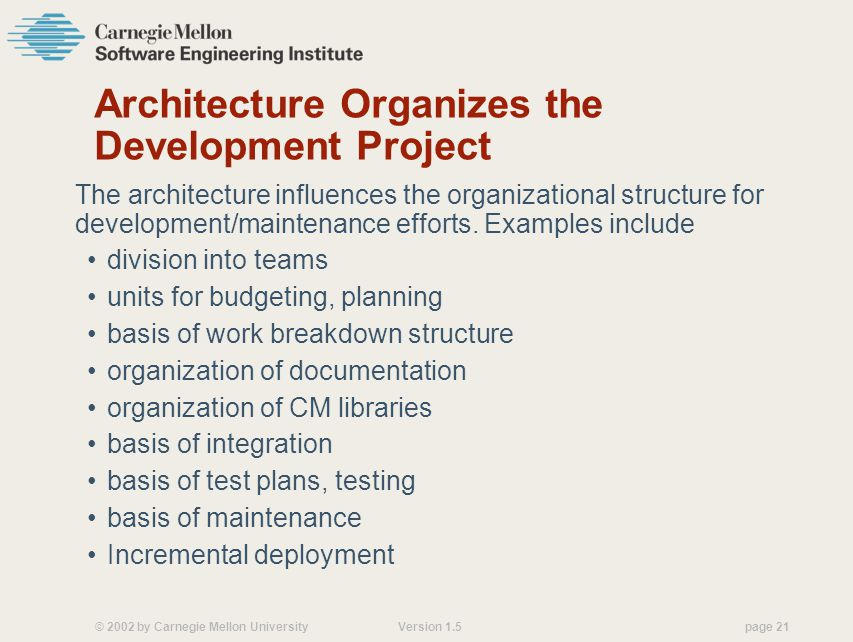 Architecture Organizes the Development Project