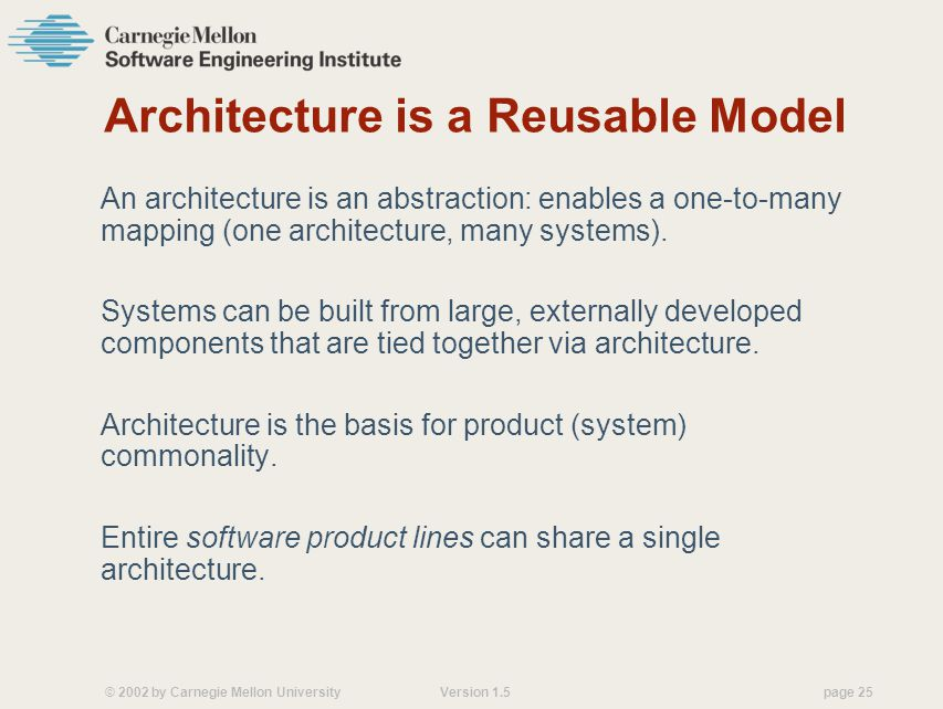 Architecture is a Reusable Model