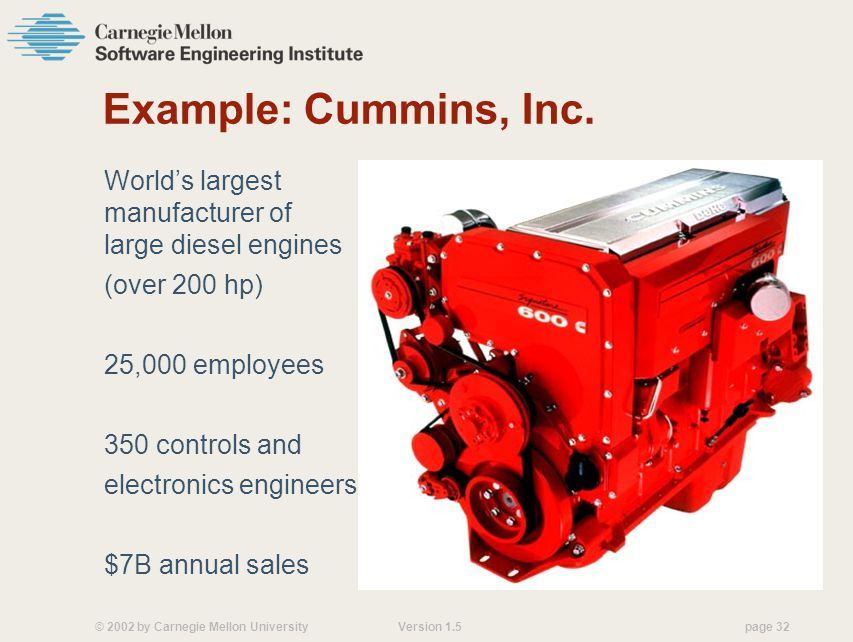 Example: Cummins, Inc. World's largest manufacturer of large diesel engines. (over 200 hp) 25,000 employees.