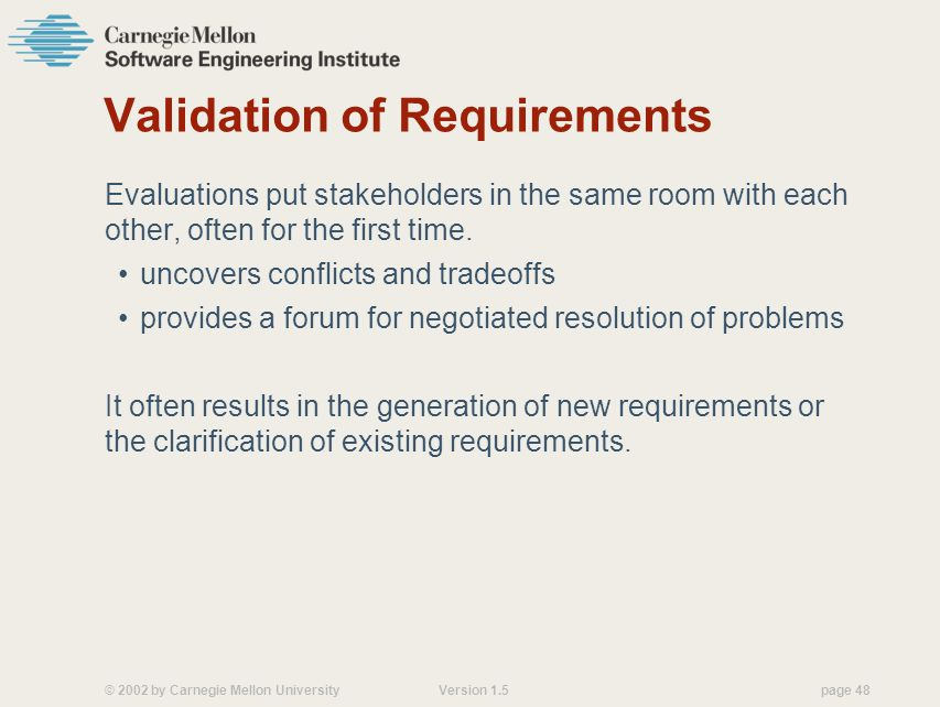 Validation of Requirements