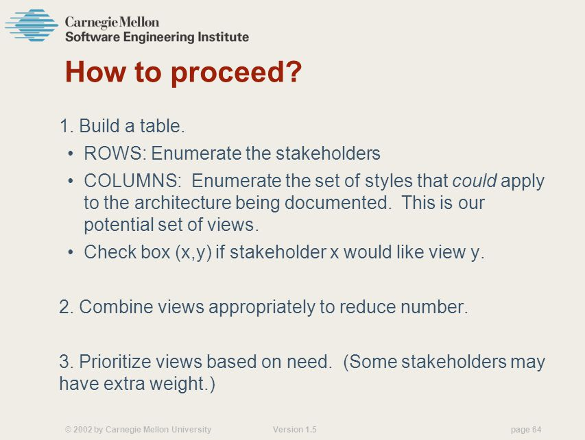 How to proceed 1. Build a table. ROWS: Enumerate the stakeholders
