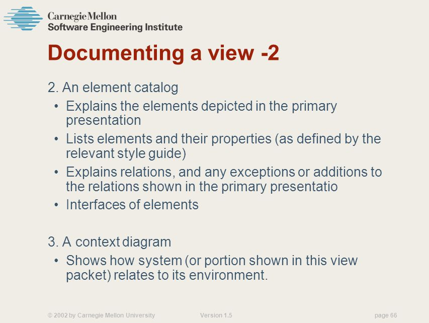 Documenting a view -2 2. An element catalog