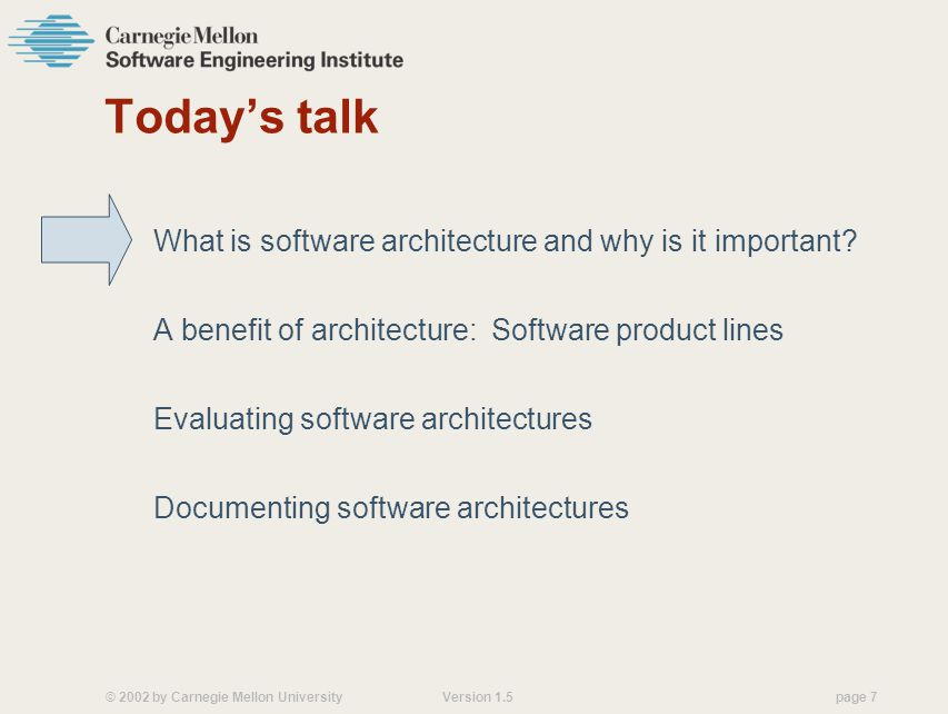 Today's talk What is software architecture and why is it important