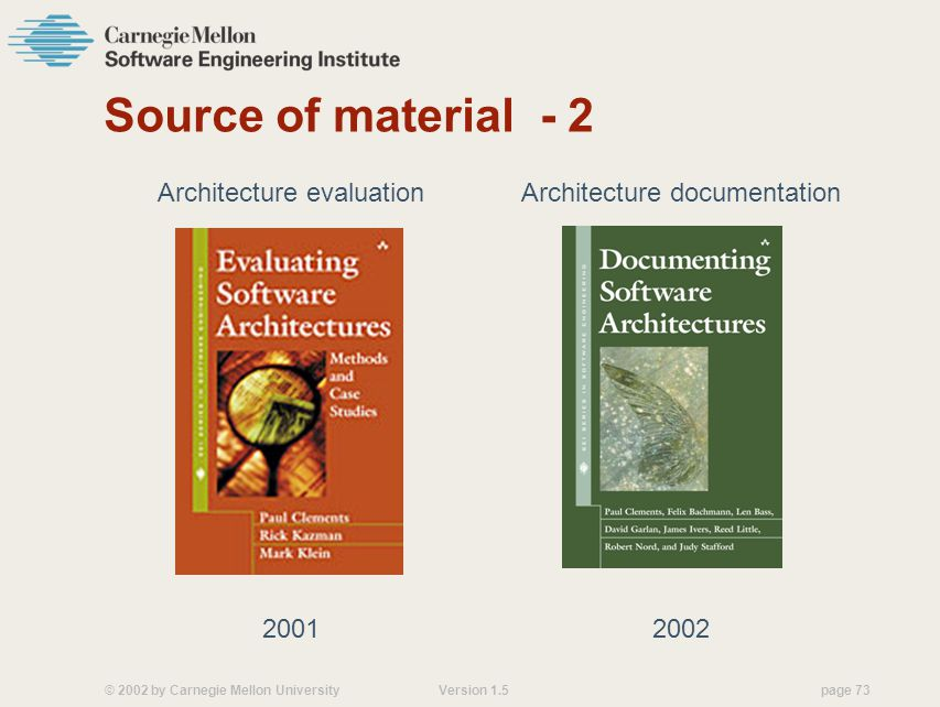 Source of material - 2 Architecture evaluation 2001