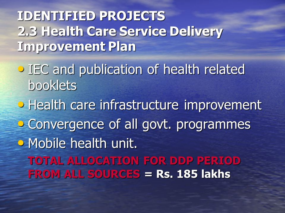 IDENTIFIED PROJECTS 2.3 Health Care Service Delivery Improvement Plan