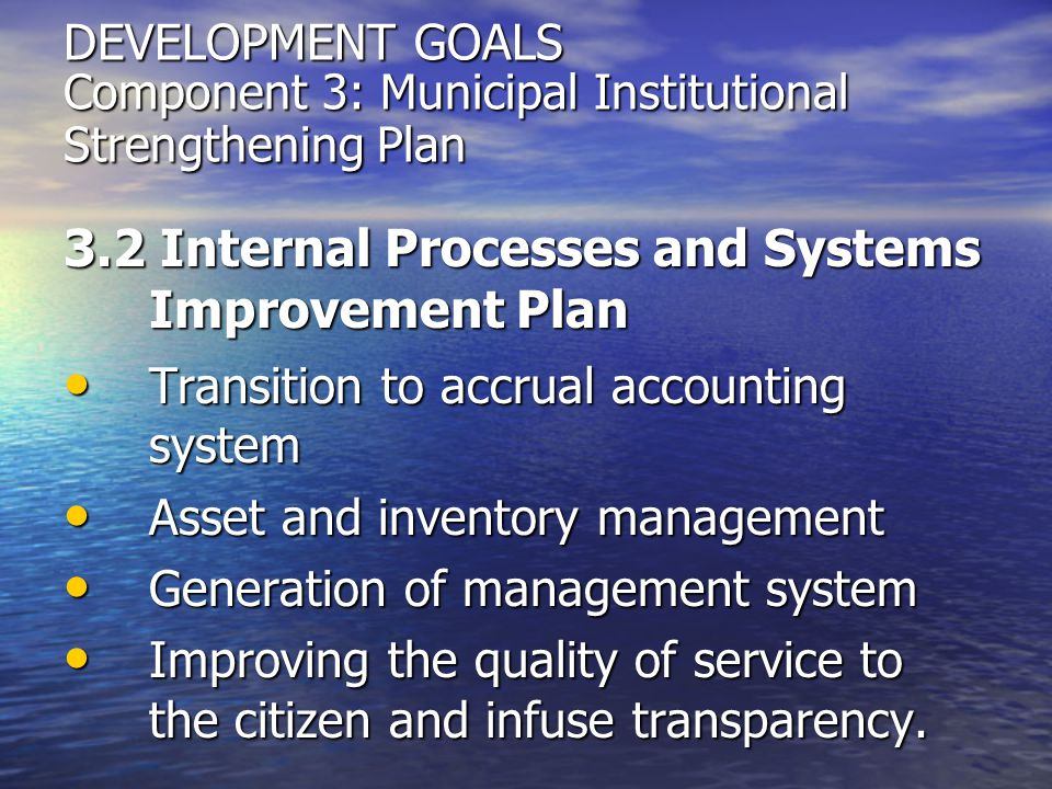 3.2 Internal Processes and Systems Improvement Plan