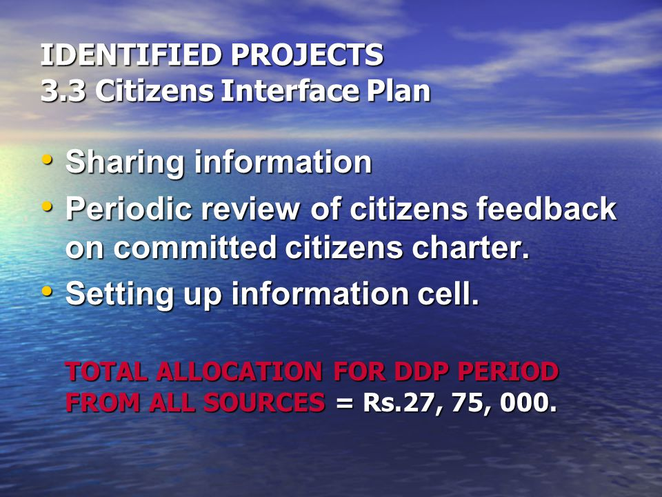 IDENTIFIED PROJECTS 3.3 Citizens Interface Plan