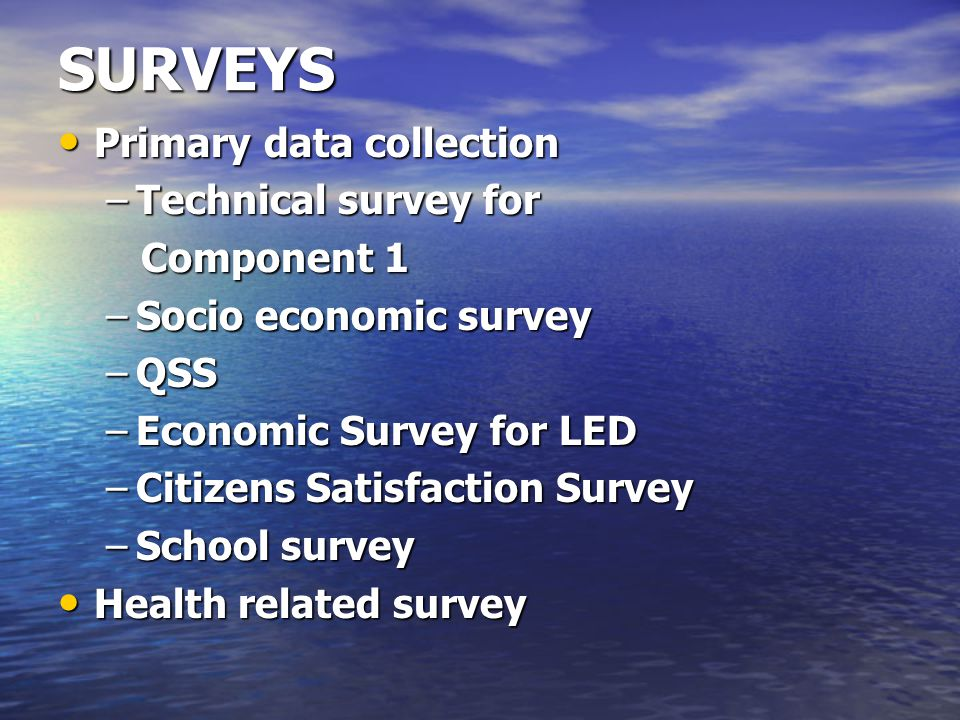 SURVEYS Primary data collection Technical survey for Component 1