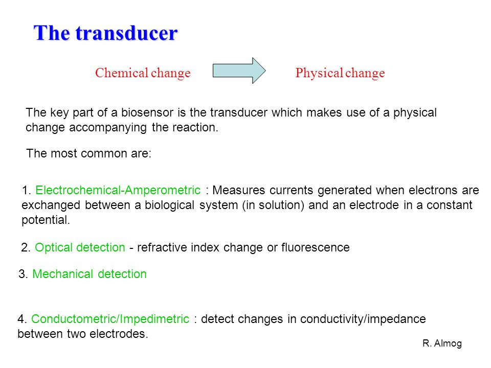 The transducer Chemical change Physical change