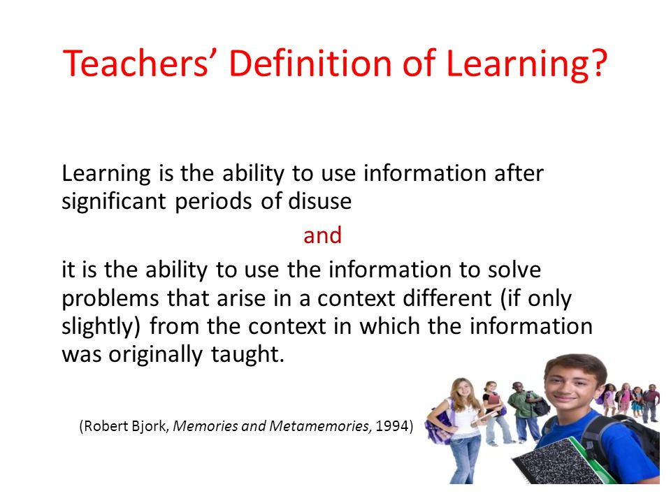 Teachers' Definition of Learning