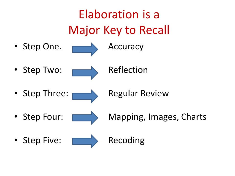 Elaboration is a Major Key to Recall