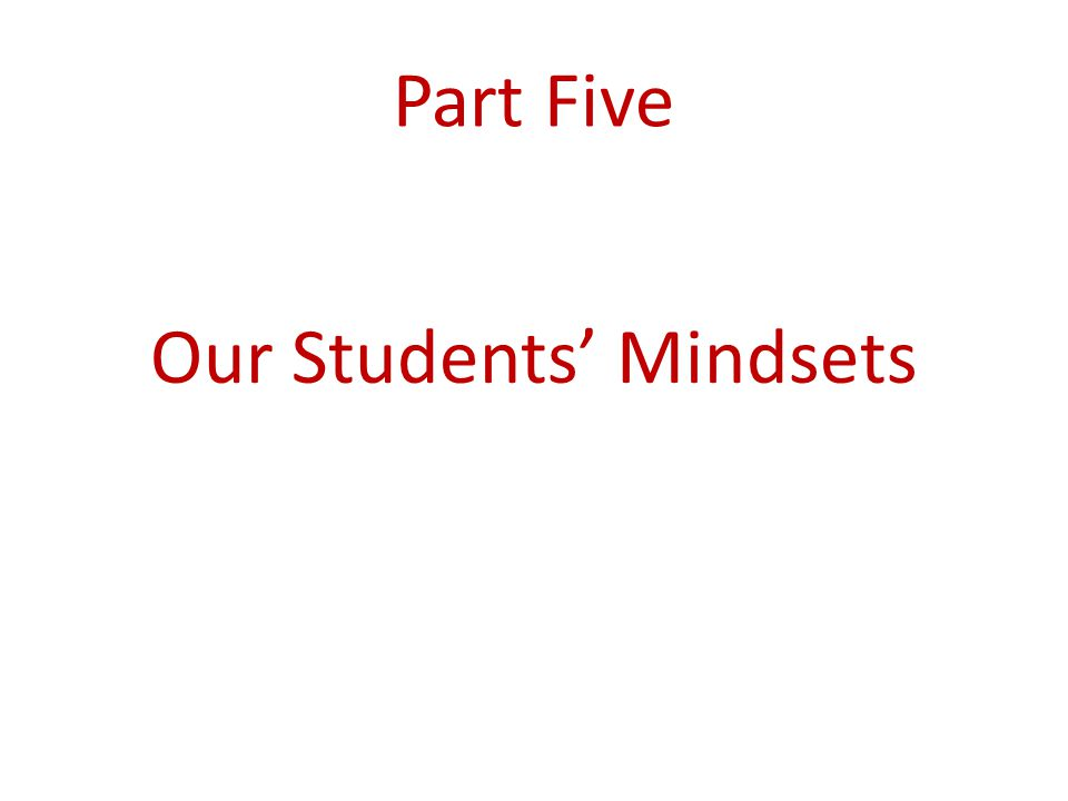Our Students' Mindsets
