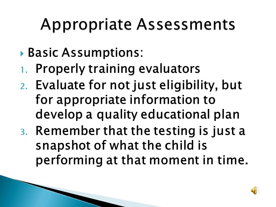 Appropriate Assessments