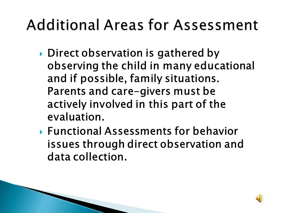 Additional Areas for Assessment