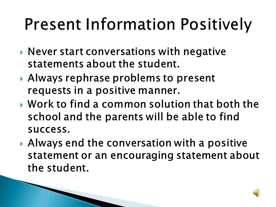 Present Information Positively