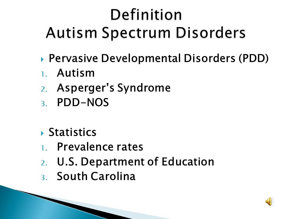 Definition Autism Spectrum Disorders