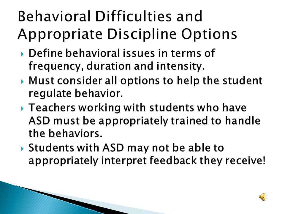 Behavioral Difficulties and Appropriate Discipline Options