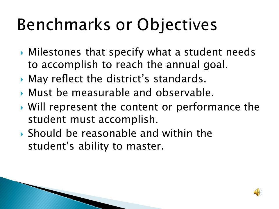 Benchmarks or Objectives