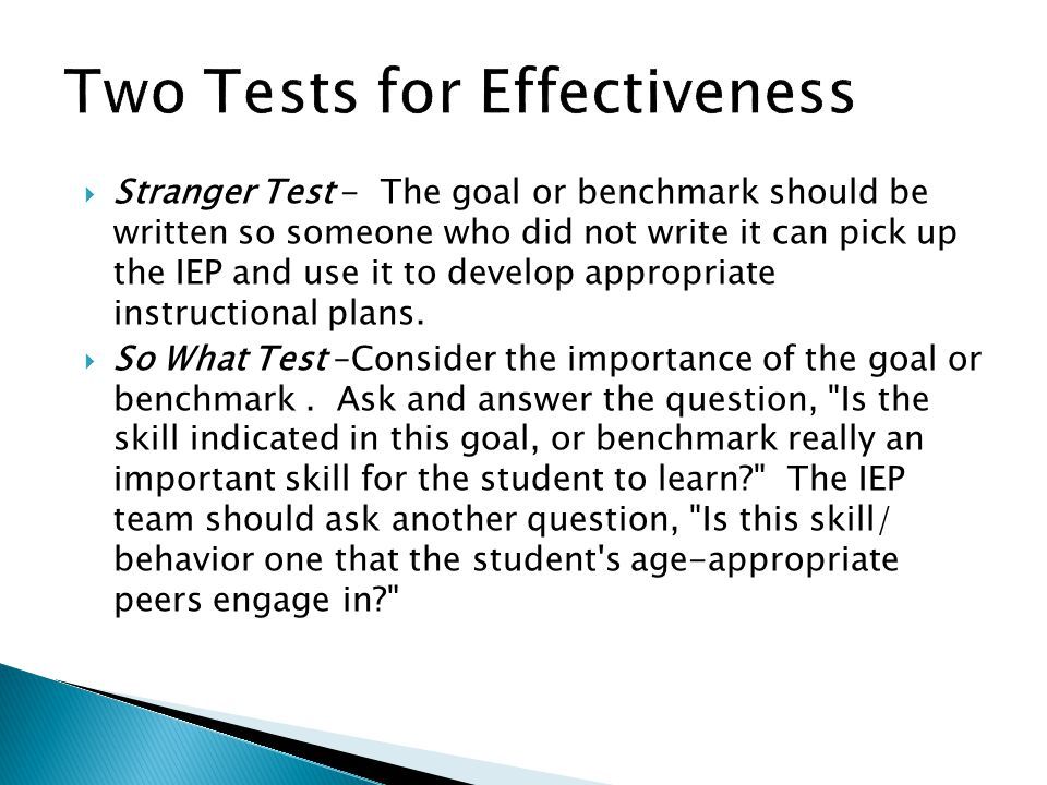 Two Tests for Effectiveness