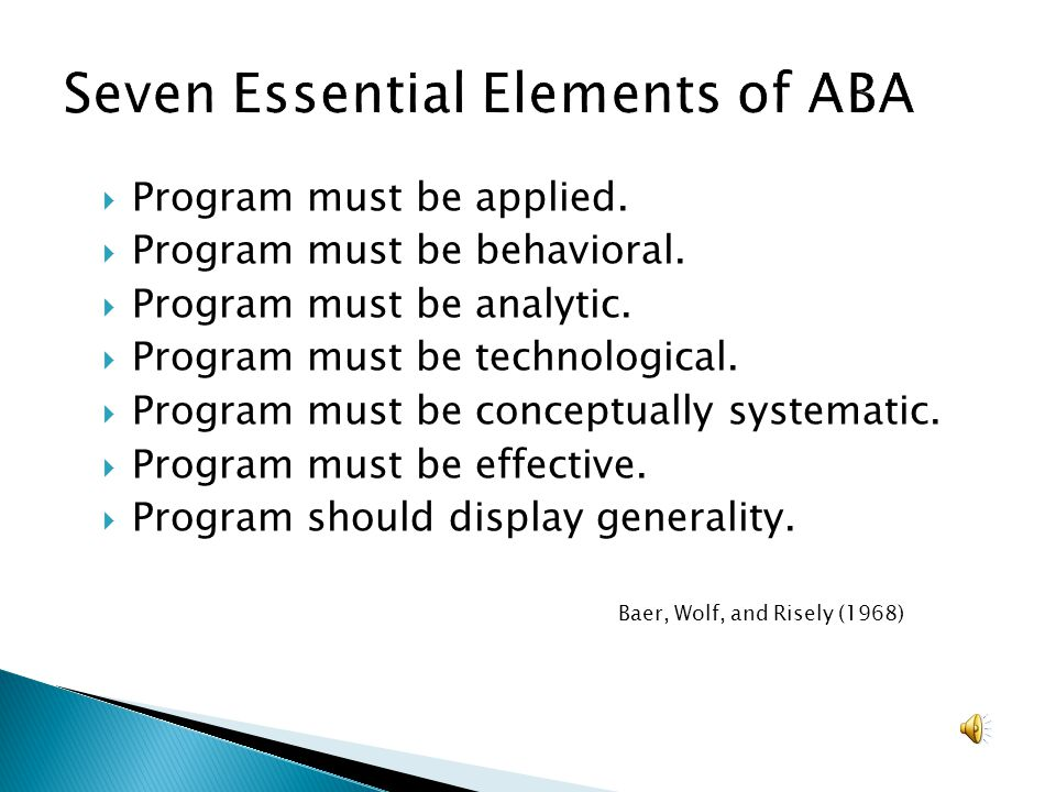 Seven Essential Elements of ABA