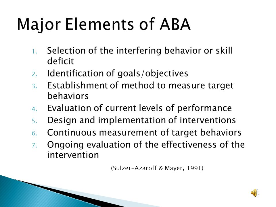 Major Elements of ABA Selection of the interfering behavior or skill deficit. Identification of goals/objectives.
