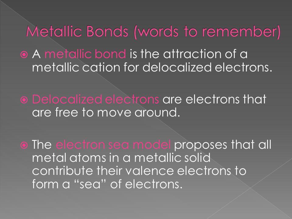 Metallic Bonds (words to remember)