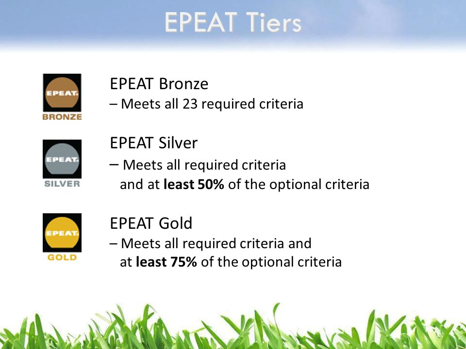EPEAT Tiers EPEAT Bronze EPEAT Silver – Meets all required criteria