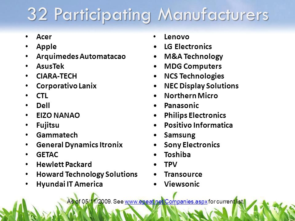 32 Participating Manufacturers