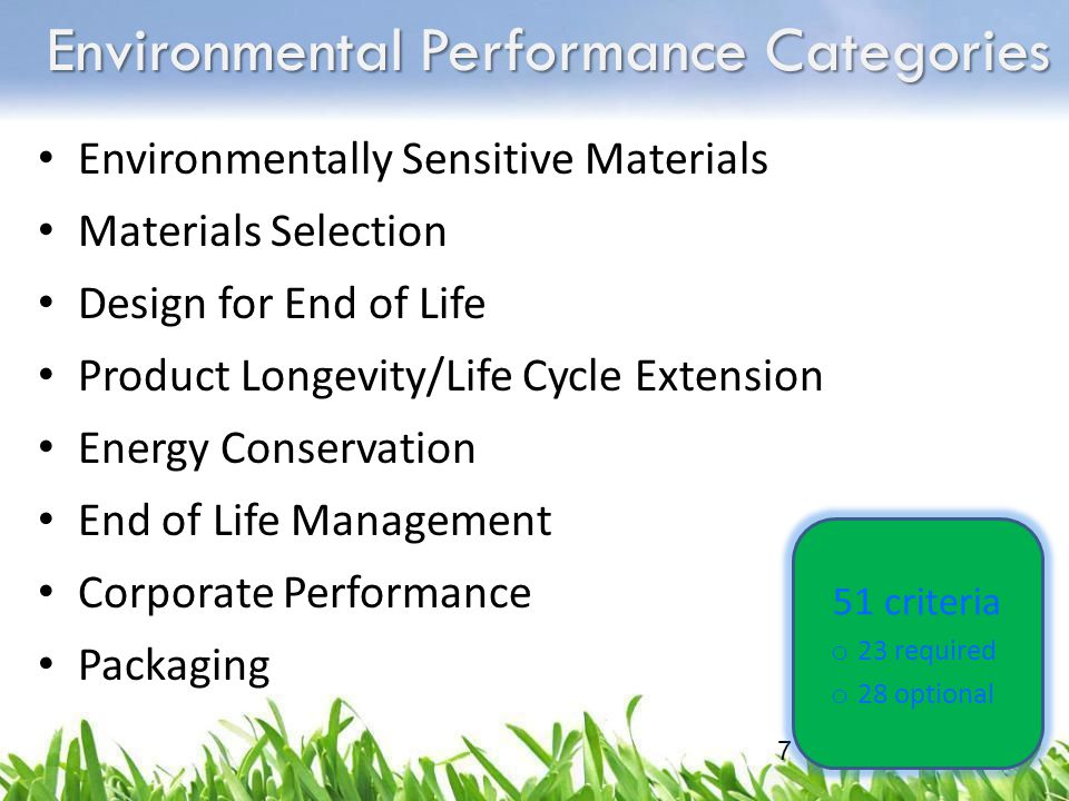 Environmental Performance Categories