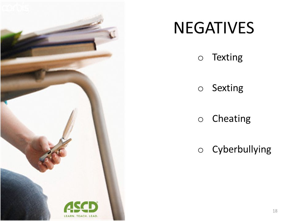 NEGATIVES Texting Sexting Cheating Cyberbullying