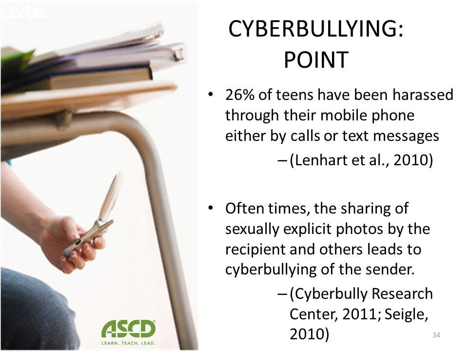 CYBERBULLYING: POINT 26% of teens have been harassed through their mobile phone either by calls or text messages.