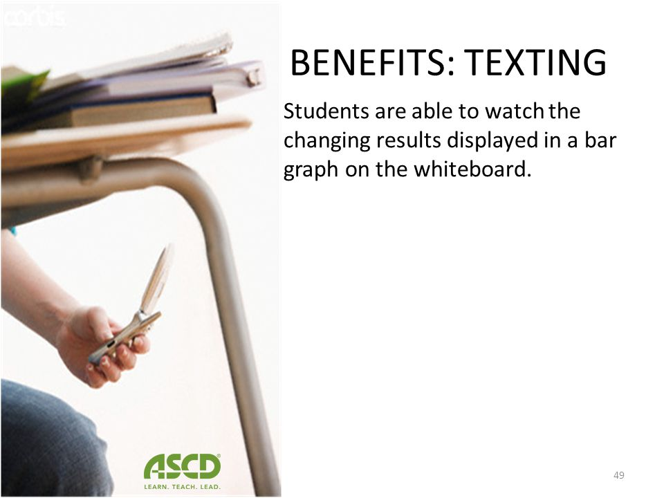 BENEFITS: TEXTING Students are able to watch the changing results displayed in a bar graph on the whiteboard.
